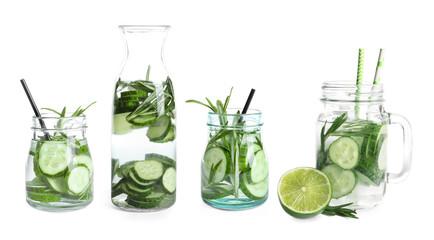 Set with fresh cucumber lemonade on white background