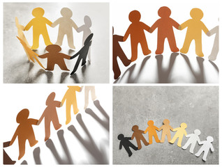 Set with paper people holding hands on grey background. Unity concept