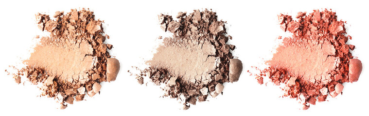 Crushed makeup products on white background. Color set of eye shadows Wall mural