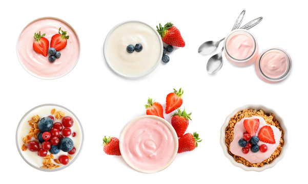 Set with delicious yogurt on white background, top view