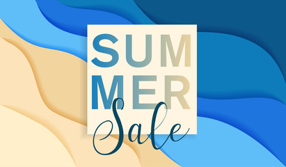 summer sale banner with paper cut frame on blue sea and beach, paper cut style, vector illustration
