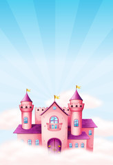 Pink fairy castle background