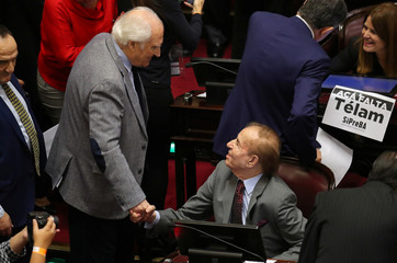 Senator Fernando 'Pino' Solanas greets Senator and former Argentine President Carlos Menem as lawmakers meet to debate and vote on a bill that would legalize abortion, in Buenos Aires
