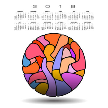 Colorful 2019 calendar with abstract circle and stained glass window mosaic style design