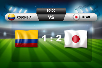 Columbia VS Japan scoreboard