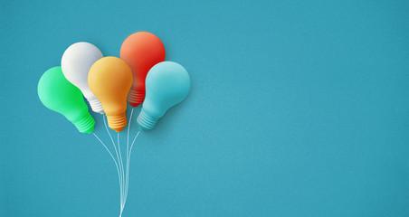 Colorful balloon light bulb on pastel background.business creativity idea