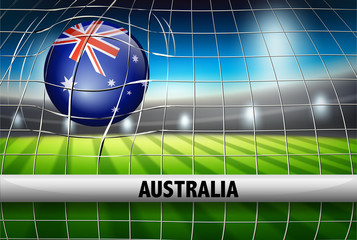 Australia soccer ball in net