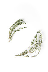 Grass thyme. Italian spices on a white background. Food concept