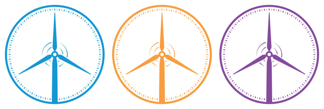 colored wind turbine and dial illustration vector