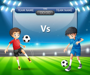 Soccer match with players concept