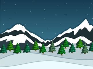 A snowy mountain landscape