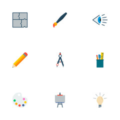Set of creative icons flat style symbols with palette, idea, easel and other icons for your web mobile app logo design.