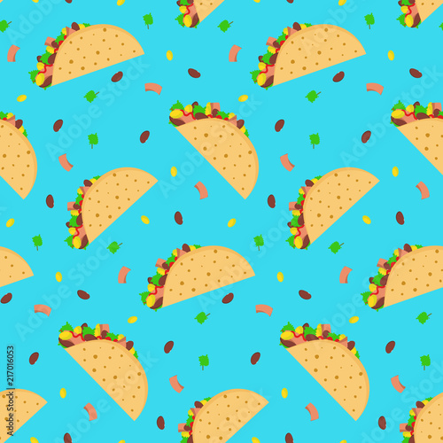 Cute Cartoon Seamless Pattern With Mexican Tacos On Bright Blue