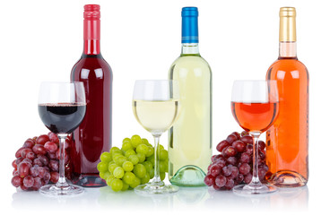 Wine wines group of bottle glass alcohol beverage grapes isolated on white