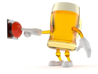 Beer character pushing button
