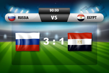 Russia vs egypt score board