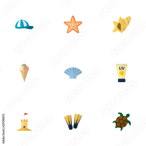 Set Of Beach Icons Flat Style Symbols With Sunscreen Turtle Shell