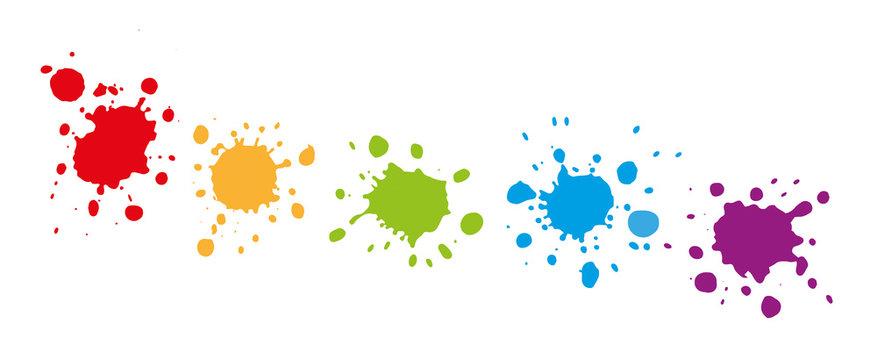 Bunte Farbkleckse - Farbspritzer und splashes