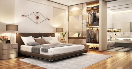 modernes Schlafzimmer mit Badezimmer