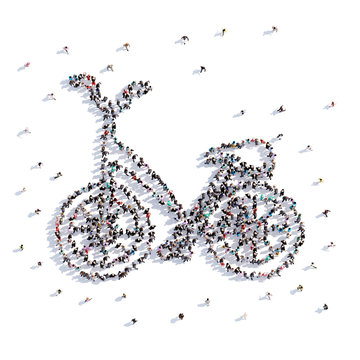 A lot of people form bike, icon . 3d rendering.
