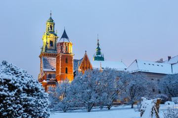 Wawel Castle in Krakow at twilight. Krakow is one of the most famous landmark in Poland
