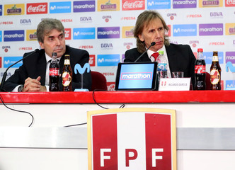 Peru's soccer coach Ricardo Gareca gives a news conference in Lima