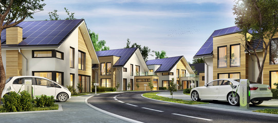 Häuser mit Sonnenkollektoren
