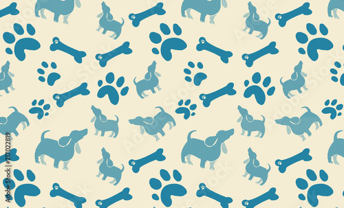 Dog Bones Paw Prints And Polka Dot Puppy Design In Blue On Beige Background Cute