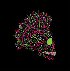 Abstract ornament skull icon with Mohawk, colorful background