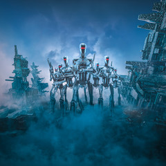 Android army patrol / 3D illustration of science fiction scene with three military robots with laser rifles searching ruins of futuristic dystopian city