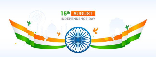 15th August, Indian Independence Day Banner Vector illustration. Ashoka chakra wheel with waved ribbon. Header design