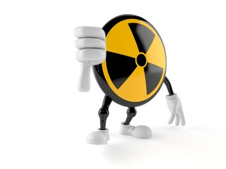 Radioactive character with thumbs down gesture