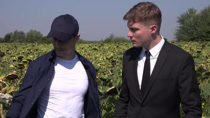 910241236b 0 15 Farmland investor business man walking in ripe sunflower field talking  farmer 4K
