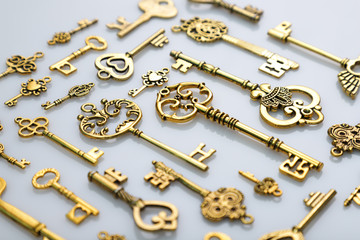 Beautiful Antique Golden Keys on White Background