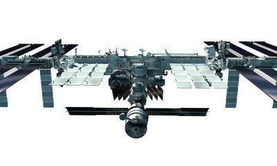 Detailed close-up of the International Space Station