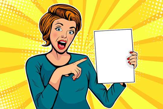 Cartoon woman points to a blank template. Vector illustration in pop art retro comic style. Advertising poster, flyer for sale, special offer, hot news.