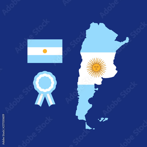 Map Flag And Cockade Of Argentina Argentine National Symbols