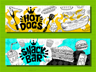 Fast food colorful modern banners set labels. Fast food. French fries. donuts. Hot dog, hamburger, coffee, wings, nuggets, tacos. Bright cool food sketches composition. Hand drawn vector illustration.
