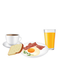 Breakfast set, plate with coffee and juice, vector
