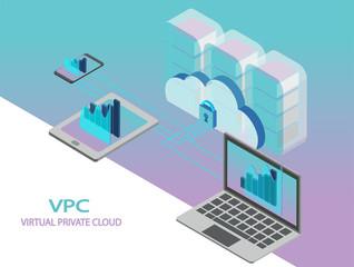 VPC virtual private cloud data storage vector. Isometric it business concept.