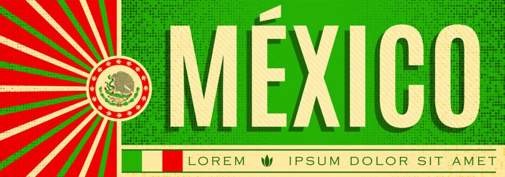 Mexico patriotic banner vintage design, typographic vector illustration, mexican flag colors