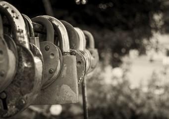 Old vintage padlocks