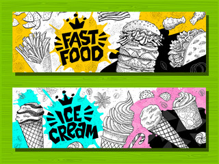 Fast food colorful modern banners set labels. Fast food. Ice cream. donuts. Hot dog, hamburger, coffee, wings, nuggets, tacos. Bright cool food sketches composition. Hand drawn vector illustration.