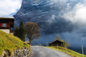 Wall Mural - road in the mountains, autumn, Switzerland