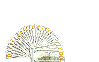 Vertical Widespread of Money, American One Hundred Dollar Bills or Bank Notes.