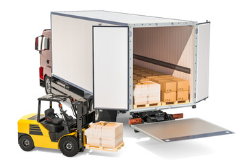 Freight transportation, delivery concept. Truck with parcels and forklift truck with cardboard boxes, 3D rendering