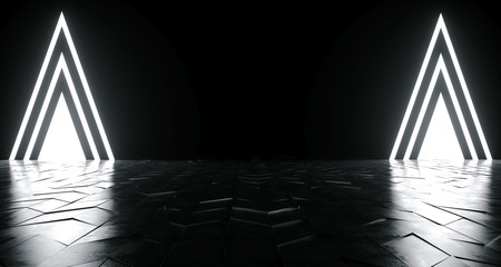 Futuristic Sci-Fi Triangle Shaped White Glowing Lights On Reflective Tilted Rough Concrete Surface In Dark Room Empty Space 3D Rendering