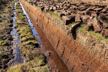 Cutted peat for whisky distilleries on island Islay, Scotland