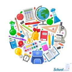 Round formed banner of school objects for design
