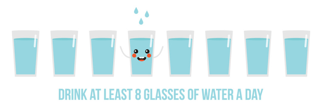 Vector horizontal illustration, banner, header with cute glasses of water. Concept of drinking eight glasses of water a day.